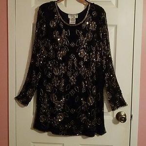 Black Vintage Sequin top/side slits XL